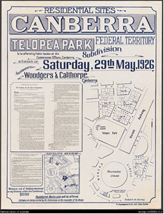 sales plan poster for subdivision at Telopea Park, 29 May 1926