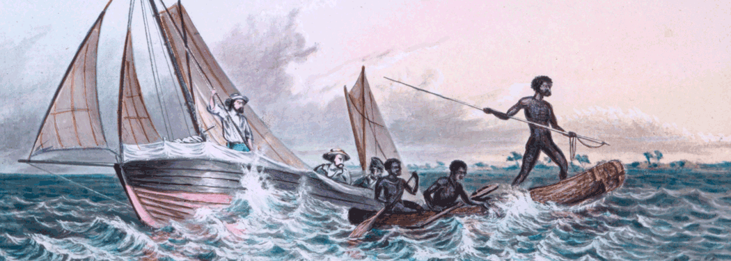 Thomas Baines artwork of Indigenous Australians and European explorers in boats