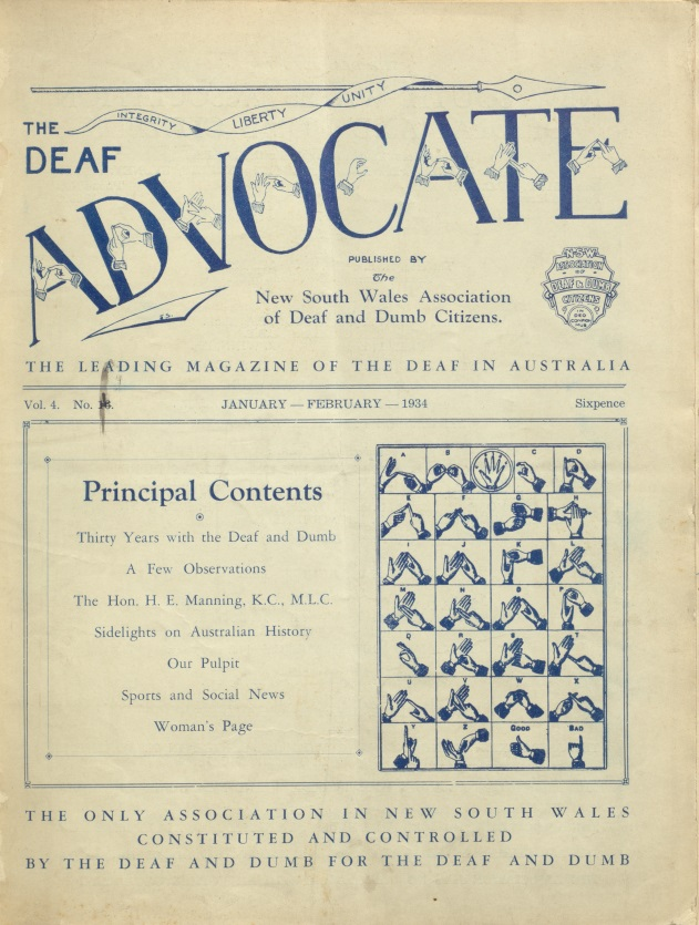Front cover of the January 1934 issue of the magazine The Deaf Advocate, listing contents and with an image of hand signs for the letters of the alphabet