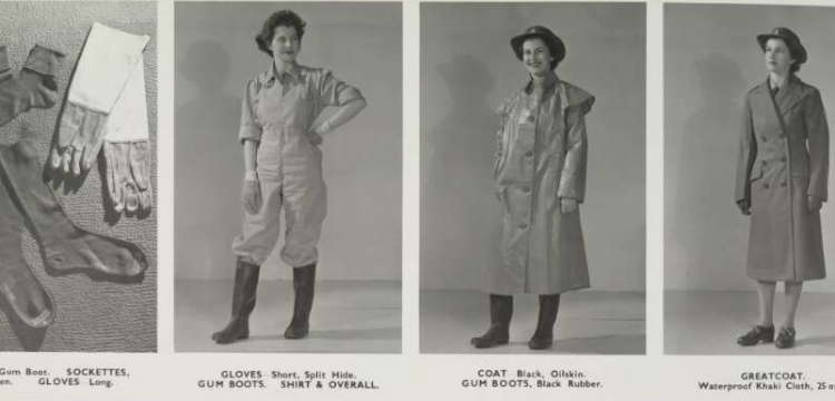 Four images showing the uniform of the Australian Womens Land Army