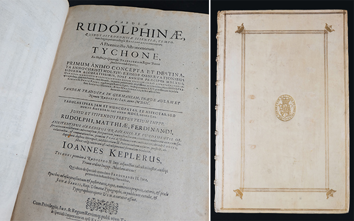 Title Page and Front Cover of Tabulae Rudolphinae by Johannes Kepler (Ulmae: Typis J. Saurii, 1627), nla.cat-vn1738882