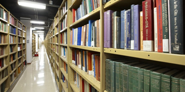 photo of the book stacks at the library