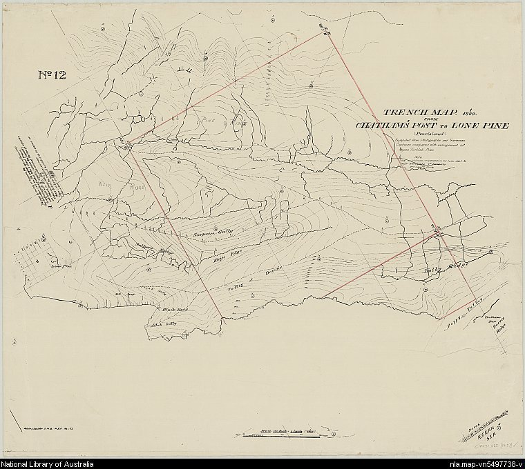 Trench map from Chatham's Post to Lone Pine, no. 12