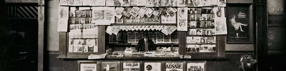 A news stand in Melbourne 1927
