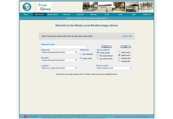 Screen shot of Manly Local Studies Image Library search interface