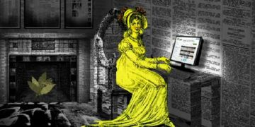 Image of a woman in 19th century dress typing at a computer in a room made of newspaper