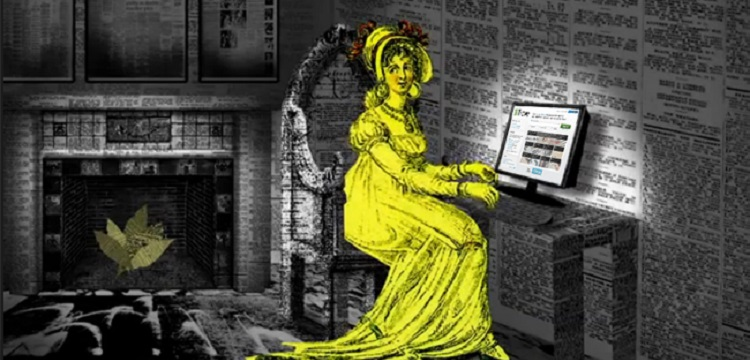 stylised lady with a computer