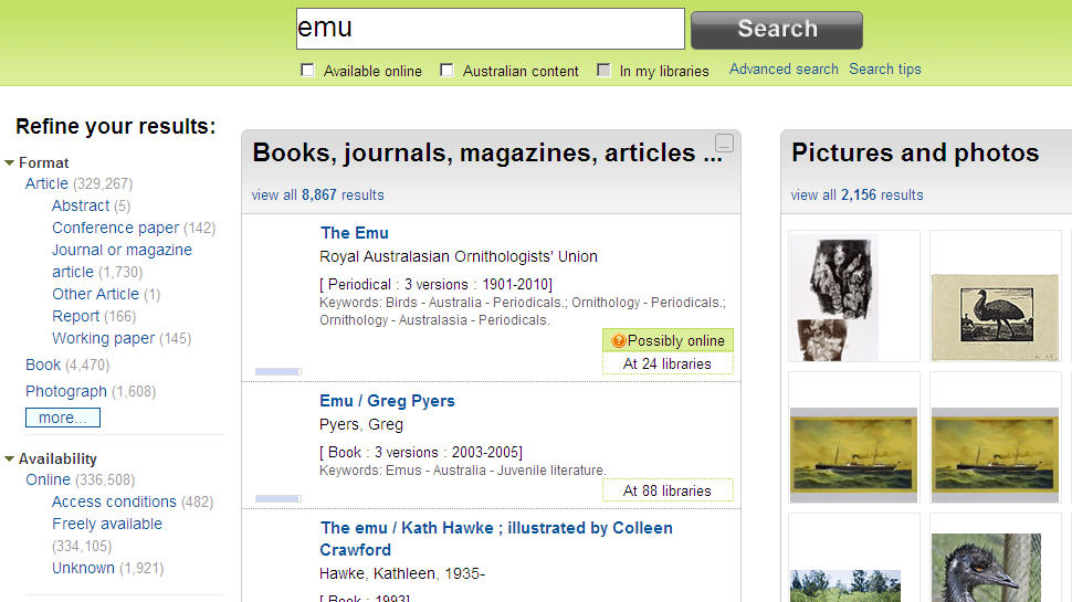 Trove – Emu search results interface