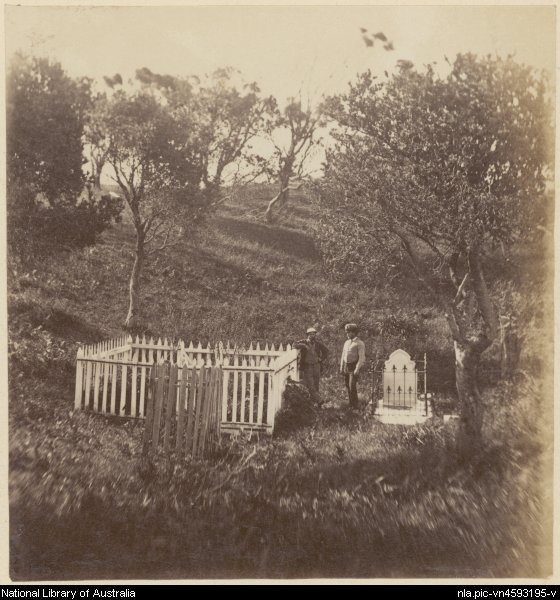 Two men standing between fenced grave sites