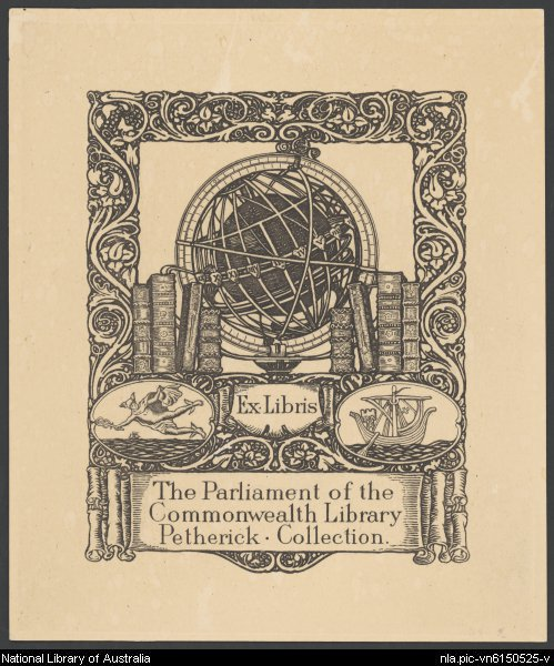 image of bookplate depicting a shelf of books and a globe
