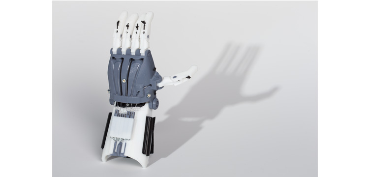 Photograph of 3D printed prosthetic hand
