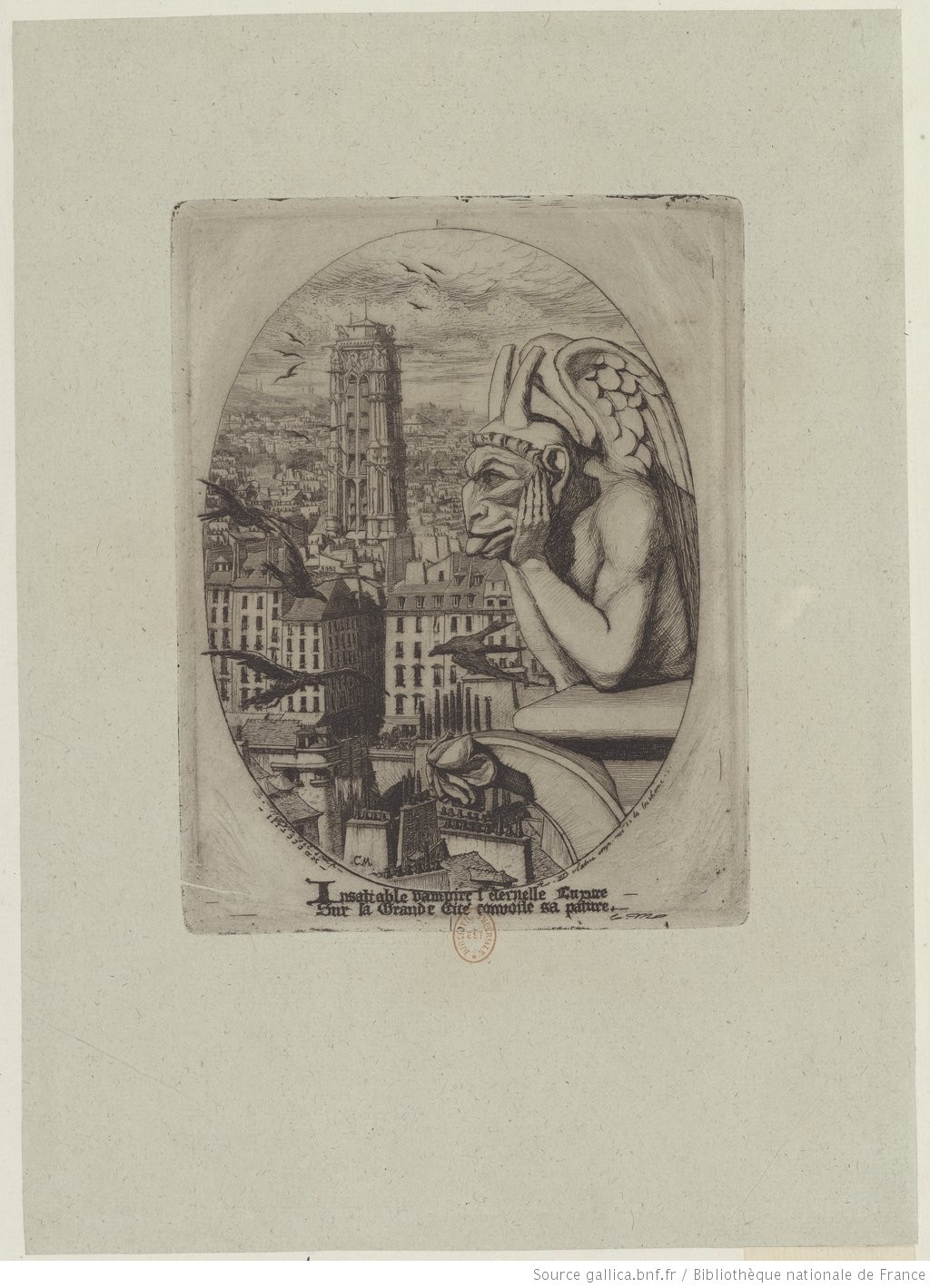 Charles Meryon (1821-1868), Le malingre cryptogame, 1860, etching, Rex Nan Kivell Collection; NK731/1  (A plate from: Le voyage a la Nouvelle Zelande)