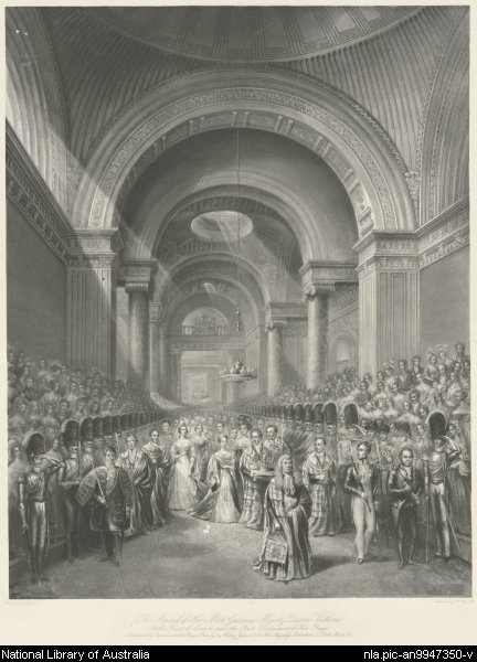 The arrival of Her Most Gracious Majesty Queen Victoria at the House of Lords to open the first Parliament of her reign