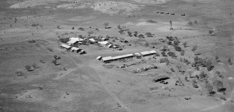 Aerial photograph showing station houses and sheds