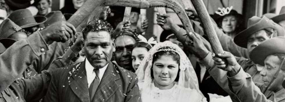 wedding at Bung Yarnda (Lake Tyers Mission) in 1940. Original image held at the State Library of Victoria, view it on Trove: http://trove.nla.gov.au/work/167582017