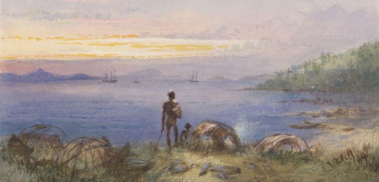 Australia, wigwams at Gould Island [Edwin Augustus Porcher], nla.obj-135133489