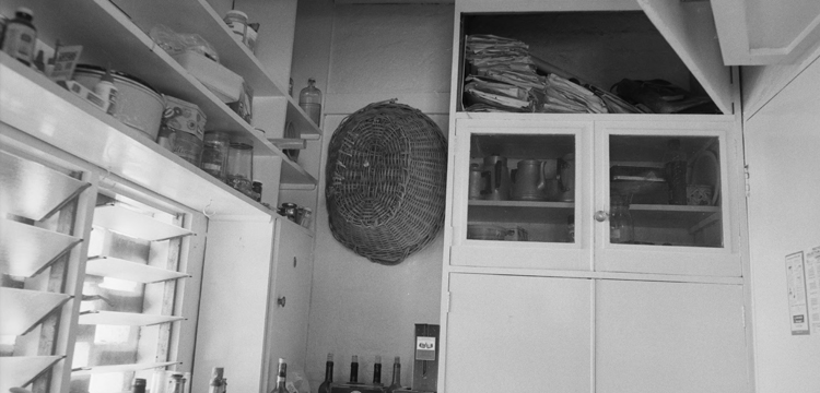 Archival Image of Manning Clarke House showing the cupboard in the kitchen where Dymphna kept her files