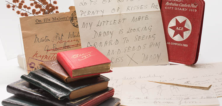 photograph of a collection of papers belonging to Sir Brudenell White, circa 1850-1940